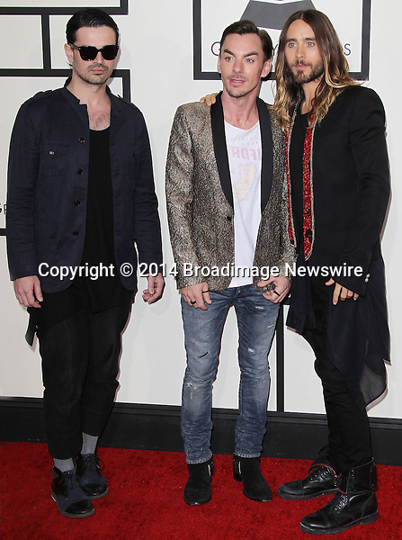 Pictured: 30 Seconds to Mars<br /> Mandatory Credit &copy; Frederick Taylor/Broadimage<br /> 56th Annual Grammy Awards - Red Carpet<br /> <br /> 1/26/14, Los Angeles, California, United States of America<br /> <br /> Broadimage Newswire<br /> Los Angeles 1+  (310) 301-1027<br /> New York      1+  (646) 827-9134<br /> sales@broadimage.com<br /> http://www.broadimage.com