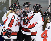 Casey Pickett (Northeastern - 14), Brittany Esposito (Northeastern - 7), Colleen Murphy (Northeastern - 10), Rachel Llanes (Northeastern - 11) - The Northeastern University Huskies defeated the visiting Clarkson University Golden Knights 5-2 on Thursday, January 5, 2012, at Matthews Arena in Boston, Massachusetts.