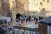 Very high resolution late afternoon view of Jewish men praying at the Western Wall in the Old City of Jerusalem on Thursday, November 2, 2017.<br /> Credit: Ron Sachs / CNP