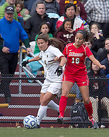 Boston College forward Stephanie McCaffrey (9) and Marist College midfielder Samantha Panzner (16) battle for the ball. Boston College defeated Marist College, 6-1, in NCAA tournament play at Newton Campus Field, November 13, 2011.