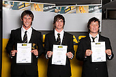 Softball Boys finalists Mark Sorenson, Campbell Enoka and Matthew Oxley.  ASB College Sport Young Sportsperson of the Year Awards held at Eden Park, Auckland, on November 11th 2010.