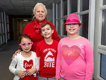 BETHLEHEM,  CT-021419JS14- Brenda Morisette of Waterbury with her grand-children Natalia Calabrese, 6, Christopher Calabrese, 8, and Alexia Binette 9. at the third annual Valentines Day grandparents dinner at Bethlehem Elementary School. The event was hosted by the Bethlehem Elementary School PTO. <br />  Jim Shannon Republican American