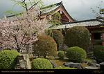 Garden Gate and Kairo roofed colonnade, Sanjusangendo Rengeo-in, Kyoto, Japan