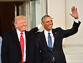 United States President Barak Obama (R) and President-elect Donald Trump smile at the White House before the inauguration on January 20, 2017 in Washington, D.C.  Trump becomes the 45th President of the United States.      <br /> Credit: Kevin Dietsch / Pool via CNP