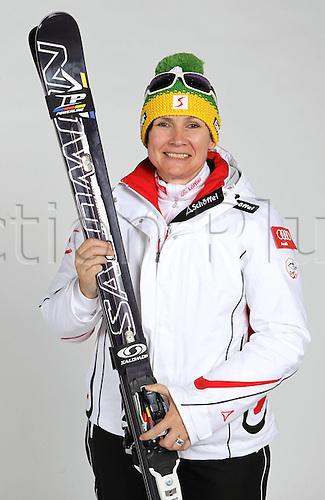 16.10.2010  Winter sports OSV Einkleidung Innsbruck Austria. Free Ski Freestyle Skiing OSV Austrian Ski Federation. and men Picture shows Coordinator Sabine Wittner AUT Ski Cross