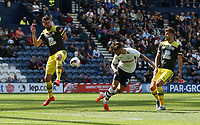Preston North End's Sean Maguire sees this header saved by the goalkeeper<br /> <br /> Photographer Stephen White/CameraSport<br /> <br /> Football Pre-Season Friendly - Preston North End v Southampton - Saturday July 20th 2019 - Deepdale Stadium - Preston<br /> <br /> World Copyright © 2019 CameraSport. All rights reserved. 43 Linden Ave. Countesthorpe. Leicester. England. LE8 5PG - Tel: +44 (0) 116 277 4147 - admin@camerasport.com - www.camerasport.com