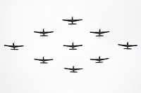 Tucano T1<br /> RAF centenary fly-past at Buckingham Palace, The Mall, London England on July 10, 2018.<br /> CAP/PL<br /> &copy;Phil Loftus/Capital Pictures
