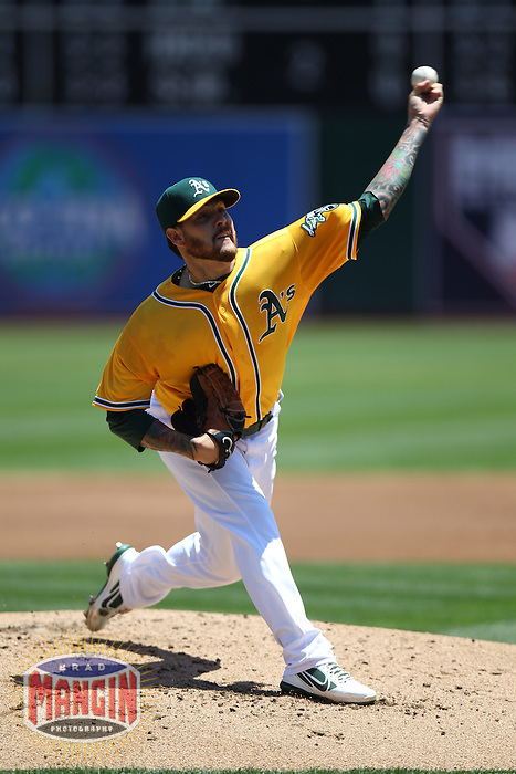 OAKLAND, CA - JULY 18:  Travis Blackley #54 of the Oakland Athletics pitches against the Texas Rangers during the game at O.co Coliseum on Wednesday, July 18, 2012 in Oakland, California. Photo by Brad Mangin