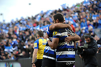 Taulupe Faletau of Bath Rugby celebrates his third try of the match with team-mates. Aviva Premiership match, between Bath Rugby and Gloucester Rugby on April 30, 2017 at the Recreation Ground in Bath, England. Photo by: Patrick Khachfe / Onside Images