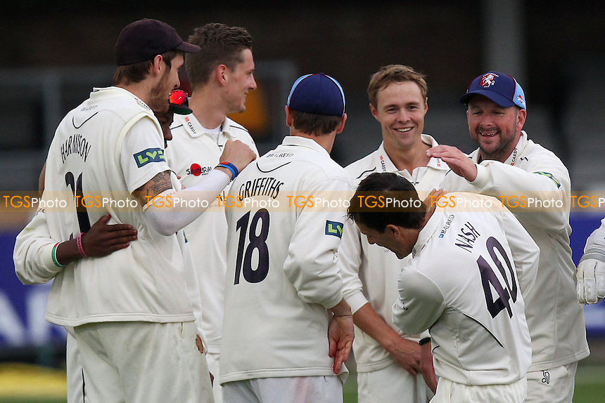 Kent players celebrate the wicket of Graham Napier - Essex CCC vs Kent CCC - Pre-Season Friendly Cricket Match at the Essex County Ground, Chelmsford - 03/04/14 - MANDATORY CREDIT: Gavin Ellis/TGSPHOTO - Self billing applies where appropriate - 0845 094 6026 - contact@tgsphoto.co.uk - NO UNPAID USE