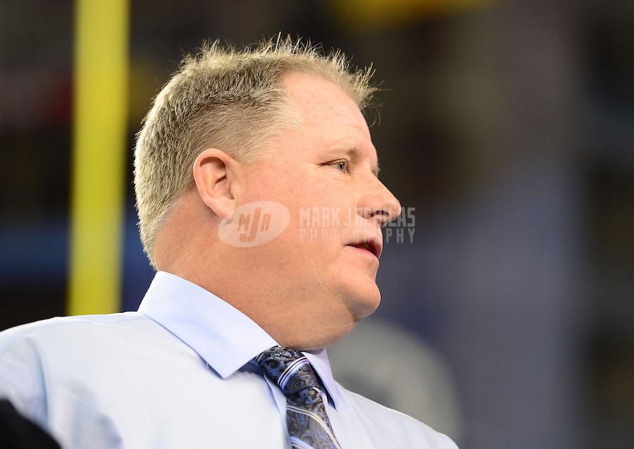 Jan. 3, 2013; Glendale, AZ, USA: Oregon Ducks head coach Chip Kelly against the Kansas State Wildcats during the 2013 Fiesta Bowl at University of Phoenix Stadium. Mandatory Credit: Mark J. Rebilas-