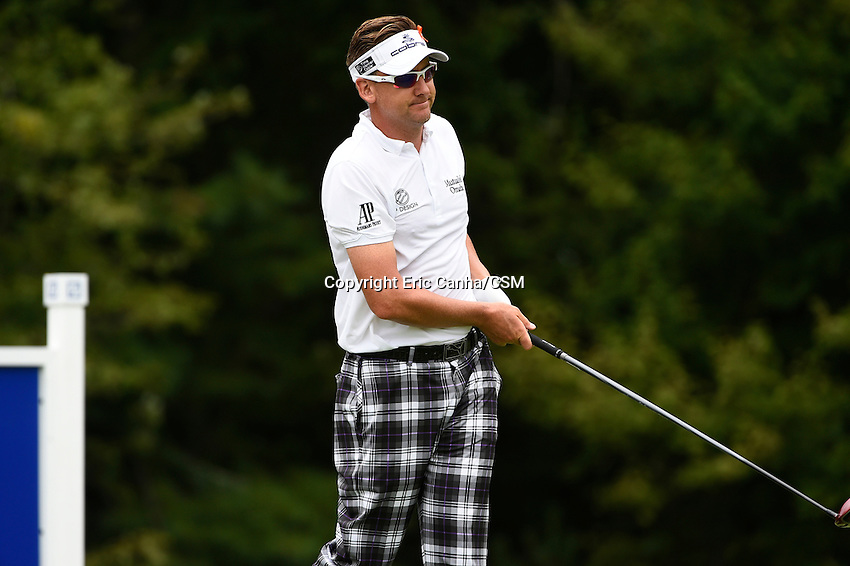 August 31, 2014 -  Norton, Mass. -  Ian Poulter reacts to his drive on the 14th hole during the third  round of the PGA FedEx Cup playoffs, Deutsche Bank Championship, held at the Tournament Players Club in Norton Massachusetts. Eric Canha/CSM