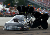 Aug 16, 2014; Brainerd, MN, USA; NHRA funny car driver Brian Stewart during qualifying for the Lucas Oil Nationals at Brainerd International Raceway. Mandatory Credit: Mark J. Rebilas-USA TODAY Sports