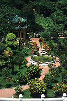 The quiet and beauty of Tiger Balm Gardens in Hong Kong Island in todays modern business climat