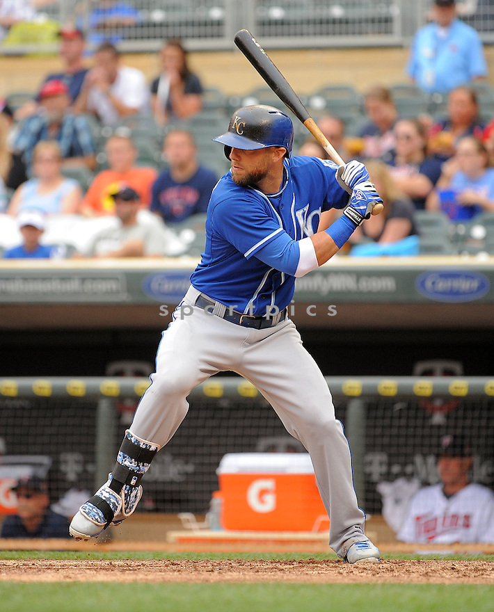 Kansas City Royals Alex Gordon (4) during a game against the Minnesota Twins on August 17, 2014 at Target Field in Minneapolis, MN. The Royals beat the Twins 12-6.