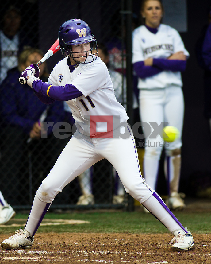 Kylee Lahners..--------Washington Huskies softball team versus North Dakota at UW on Saturday, March 10, 2012. (Photo by Dan DeLong/Red Box Pictures)