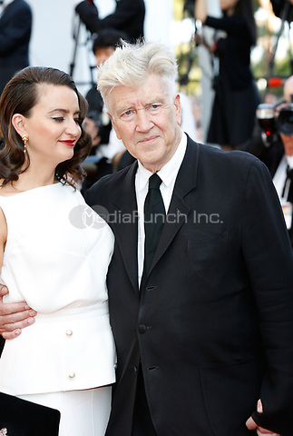 Emily Stofle and director David Lynch arrive to attend the closing ceremony of the 70th Annual Cannes Film Festival at Palais des Festivals in Cannes, France, on 28 May 2017. <br />