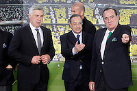 Real Madrid's new coach Carlo Ancelotti with the President Florentino Perez (c) and the Vice President fernando Fernandez Tapias (r) during his official presentation.June 26, 2013. (ALTERPHOTOS/Acero) .<br />