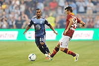 Sporting Park, Kansas City, Kansas, July 31 2013:<br /> Alessandro Florenzi (24) midfield AS Roma in action.<br /> MLS All-Stars were defeated 3-1 by AS Roma at Sporting Park, Kansas City, KS in the 2013 AT & T All-Star game.