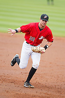 Kannapolis Intimidators first baseman Danny Hayes (32) makes an putout during the South Atlantic League game against the Greenville Drive at CMC-Northeast Stadium on April 6, 2014 in Kannapolis, North Carolina.  The Intimidators defeated the Drive 8-5.  (Brian Westerholt/Four Seam Images)