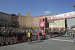 The finish line on Il Campo in Siena at the end of the 2014 Strade Bianche race over the white dusty gravel roads of Tuscany, Italy. 8th March 2014.<br /> Picture: Eoin Clarke www.newsfile.ie