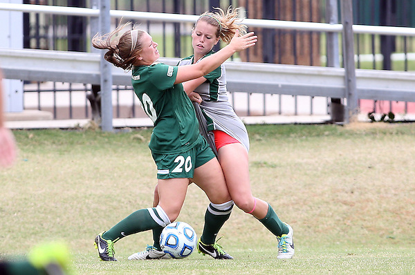 DENTON, TX -OCTOBER 13: Tess Graham #7 of the North Texas Mean Green - North Texas Mean Green Soccer vs Charlotte Forty NIners  at Mean Green Village Soccer Field in Denton on October 13, 2013 in Denton Texas. (Photo by Rick Yeatts)