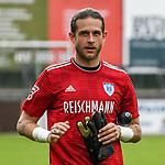 01.08.2020, C-Team Arena, Ravensburg, GER, WFV-Pokal, FV Ravensburg vs SSV Ulm 1846 Fussball, <br /> DFL REGULATIONS PROHIBIT ANY USE OF PHOTOGRAPHS AS IMAGE SEQUENCES AND/OR QUASI-VIDEO, <br /> im Bild Kevin Kraus (Ravensburg, #1) nach Spielende<br /> <br /> Foto © nordphoto / Hafner