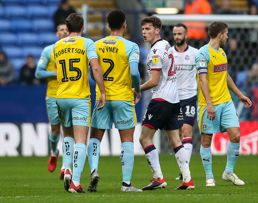 Bolton Wanderers' Joe Williams draws attention from the Rotherham United defence <br /> <br /> Photographer Andrew Kearns/CameraSport<br /> <br /> The EFL Sky Bet Championship - Bolton Wanderers v Rotherham United - Wednesday 26th December 2018 - University of Bolton Stadium - Bolton<br /> <br /> World Copyright © 2018 CameraSport. All rights reserved. 43 Linden Ave. Countesthorpe. Leicester. England. LE8 5PG - Tel: +44 (0) 116 277 4147 - admin@camerasport.com - www.camerasport.com