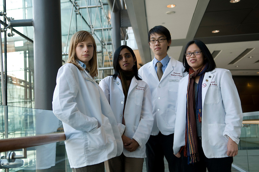 BOSTON, MA.--January 26, 2009--Harvard University Students who, as members of the American Medical Student Association, are working to promote ethical policies on campus, inside Harvard's New Research Building. .From left, Kirsten Austad, Lekshmi Santhosh, David Tian and Kim Sue. .JODI HILTON FOR THE NEW YORK TIMES