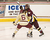 Kaliya Johnson (BC - 6), Jordan Krause (UMD - 14) -  - The visiting University of Minnesota Duluth Bulldogs defeated the Boston College Eagles 3-2 on Thursday, October 25, 2012, at Kelley Rink in Conte Forum in Chestnut Hill, Massachusetts.