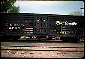 Stock car #5706 in Chama.<br /> D&amp;RGW  Chama, NM