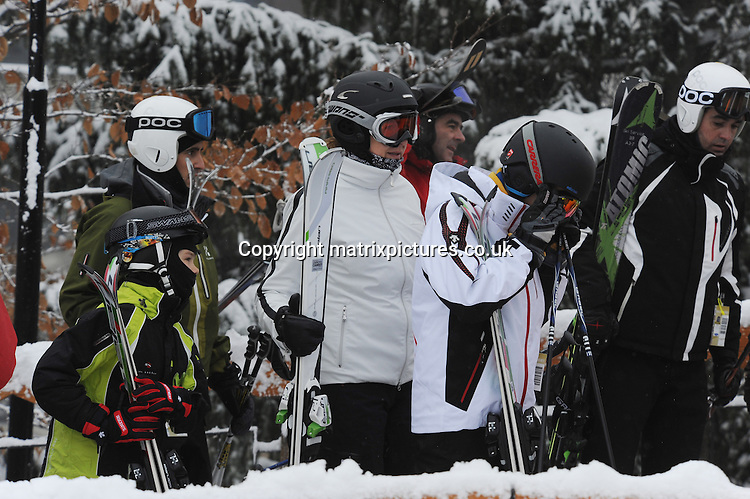 NON EXCLUSIVE PICTURE: MATRIXPICTURES.CO.UK.PLEASE CREDIT ALL USES..UK RIGHTS ONLY..Spain royal Infanta Cristina and her sons Juan Valentin, Pablo Nicolas Sebastian and Miguel, are pictured enjoying a skiing holiday together at Baqueira Beret Station resort in Spain...JANUARY 3rd 2013..REF: KDA 1335..EU