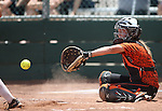 Douglas Tigers' Kelly Sonnemann catches against the Galena Grizzlies in a first round game of the NIAA northern region softball tournament in Reno, Nev., on Thursday, May 15, 2014. Galena won 5-4.<br /> Photo by Cathleen Allison