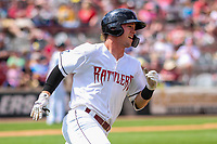 Wisconsin Timber Rattlers outfielder Tristen Lutz (21) rounds first base during a Midwest League game against the Burlington Bees on May 19, 2018 at Fox Cities Stadium in Appleton, Wisconsin. Wisconsin defeated Burlington 1-0. (Brad Krause/Four Seam Images)