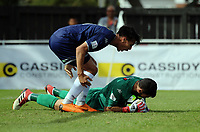 Auckland's Te Atawhai Hudson-Wihongi congratulates Auckland's Enaut Zubikarai on a save during the 2018 OFC Champions League semifinal between Auckland City FC and Team Wellington at Kiwitea St in Auckland, New Zealand on Sunday, 29 April 2018. Photo: Dave Lintott / lintottphoto.co.nz