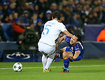 Leicester's Shinji Okazaki tussles with Brugge's Benoit Poulain during the Champions League group B match at the King Power Stadium, Leicester. Picture date November 22nd, 2016 Pic David Klein/Sportimage