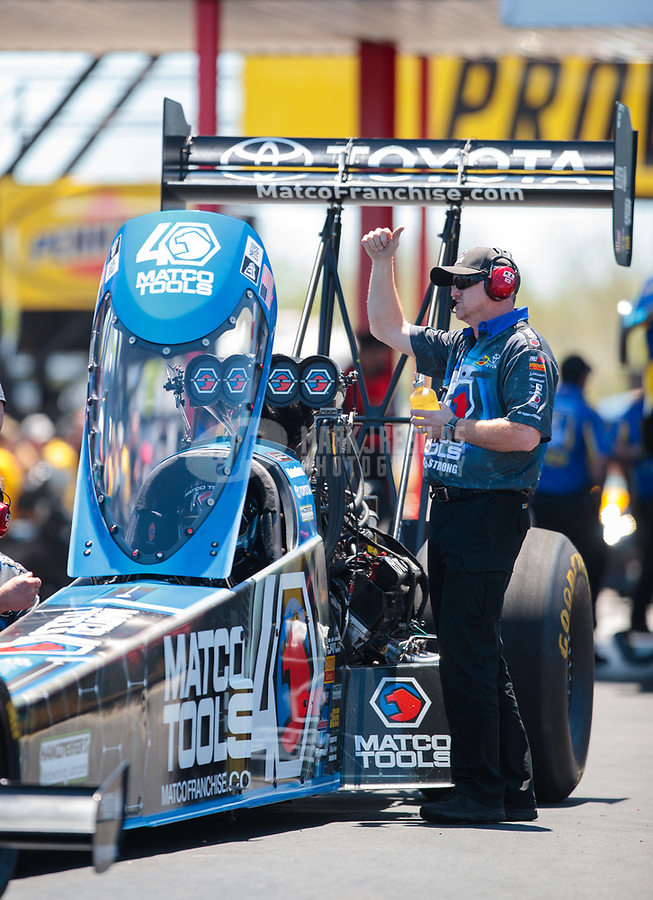 Apr 14, 2019; Baytown, TX, USA; Brad Mason crew chief for NHRA top fuel driver Antron Brown during the Springnationals at Houston Raceway Park. Mandatory Credit: Mark J. Rebilas-USA TODAY Sports