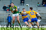Jeff O'Donoghue Kerry gets to the ball ahead of Thomas Downes Clare during the McGrath cup clash at Fitzgerald Stadium on Sunday