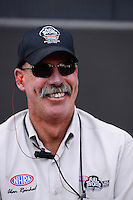Sept. 14, 2012; Concord, NC, USA: NHRA announcer Alan Reinhardt during qualifying for the O'Reilly Auto Parts Nationals at zMax Dragway. Mandatory Credit: Mark J. Rebilas-