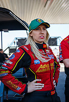 Apr 23, 2017; Baytown, TX, USA; NHRA funny car driver Courtney Force during the Springnationals at Royal Purple Raceway. Mandatory Credit: Mark J. Rebilas-USA TODAY Sports