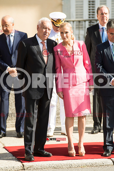 Minister of Foreign Affairs and Cooperation, José García-Margallo and President of Madrid Region, Cristina Cifuentes attends the reception of the president of the republic of Perú, Sr. Ollanta Humala Tasso, y Sra. Nadine Heredia Alarcón at El Pardo Palace in Madrid, Spain. July 07, 2015.<br />  (ALTERPHOTOS/BorjaB.Hojas)