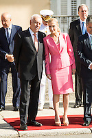 Minister of Foreign Affairs and Cooperation, Jos&eacute; Garc&iacute;a-Margallo and President of Madrid Region, Cristina Cifuentes attends the reception of the president of the republic of Per&uacute;, Sr. Ollanta Humala Tasso, y Sra. Nadine Heredia Alarc&oacute;n at El Pardo Palace in Madrid, Spain. July 07, 2015.<br />  (ALTERPHOTOS/BorjaB.Hojas)