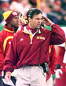 Washington Redskins defensive coordinator Mike Nolan on the sidelines of the game against the Arizona Cardinals at Jack Kent Cooke Stadium in Raljon, Maryland on November 22, 1998.  The Cardinals won the game 45 - 42.<br />