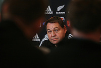 Steve Hansen at the All Blacks media conference ahead of the test match against England, Southern Cross Hotel, Dunedin, New Zealand, Thursday, June 12, 2014. Credit: NINZ/Dianne Manson