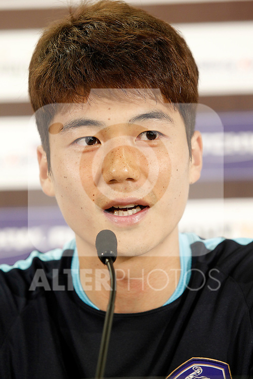 South Korea's Ki Sungyueng in press conference during previous friendly match. May 31,2016.(ALTERPHOTOS/Acero)