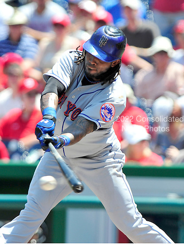 New York Mets shortstop Jose Reyes (7) connects on a ground out in the first inning against the Washington Nationals at Nationals Park in Washington, D.C. on Sunday, July 31, 2011.  .Credit: Ron Sachs / CNP.(RESTRICTION: NO New York or New Jersey Newspapers or newspapers within a 75 mile radius of New York City)