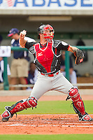 Catcher Cole Armstrong #28 of the Canadian World Cup/Pan Am Team makes a throw to second base during the exhibition game against Team USA at the USA Baseball National Training Center on September 28, 2011 in Cary, North Carolina.  (Brian Westerholt / Four Seam Images)