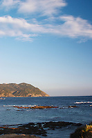 View from Sanary towards the Cap Sicie with dark blue sea and bright sky with clouds Le Brusc Six Fours Var Cote d'Azur France