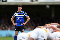 Freddie Burns of Bath Rugby watches a scrum. Gallagher Premiership match, between Bath Rugby and Wasps on May 5, 2019 at the Recreation Ground in Bath, England. Photo by: Patrick Khachfe / Onside Images