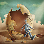 Businessman stepping out from the media egg depicting business beginnings